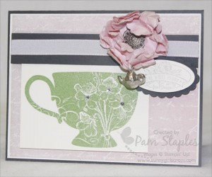 Paper Craft Crew Card Sketch 27 featuring the Tea Shoppe Stamp Set and Tea Time Trinkets from the Spring Catalog