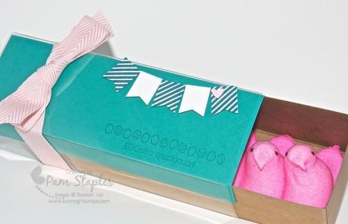 Yummy Peeps peeking out the box