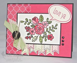 Handmade Card featuring So Very Grateful Watercolor flowers created by Pam Staples, Sunny Girl Scraps.
