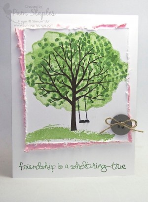 Handmade Card featuring the Sheltering Tree Stamp Set created by Pam Staples, Sunnygirlscraps.  #stampinup #shelteringtree #pamstaples
