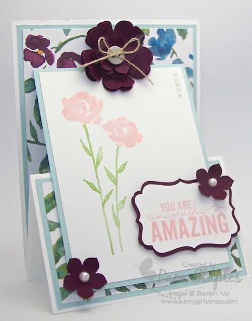 Painted Petals Upright Z-Fold Card created by Pam Staples, design team member of the SUO Challenges Blog.  #stampinup #pamstaples #zfold #sunnygirlscraps