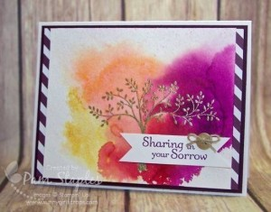 Handmade card created by Pam Staples featuring a Watercolor Background. #stampinup #thoughtsandprayers #sunnygirlscraps