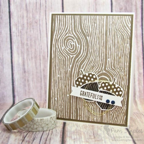 Acorny Thank You card created by Pam Staples for the RemARKable Stampers Blog Tour featuring Holiday Bundles. #stampinup #pamstaples #fallcards #thanksgiving