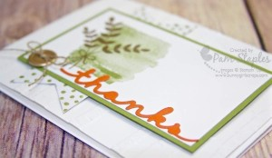 Thank You card created by Pam Staples, Stampin' Up! Independent Demonstrator. I love the Greetings Thinlits. #stampinup #sunnygirlscraps #greetingthinlits #fallcards