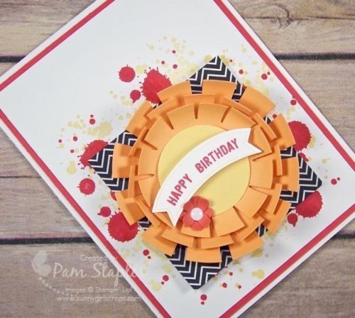 Peekaboo Peach Sunburst card created by Pam Staples for the Paper Craft Crew Sketch Challenge #196. #sunburst #stampinup #pamstaples