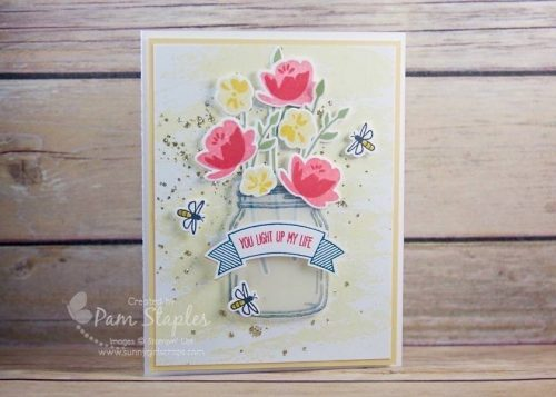 OSAT Blog Hop Summer Lovin' Jar of Love Card created by Pam Staples, Sunny Girl Scraps. #stampinup #jaroflove #pamstaples #sunnygirlscraps