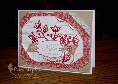 Flourishing Phrases Shabby Chic card created by Pam Staples for the One Stamp At a Time Blog Hop. #osat #pamstaples #stampinup #shabbychic