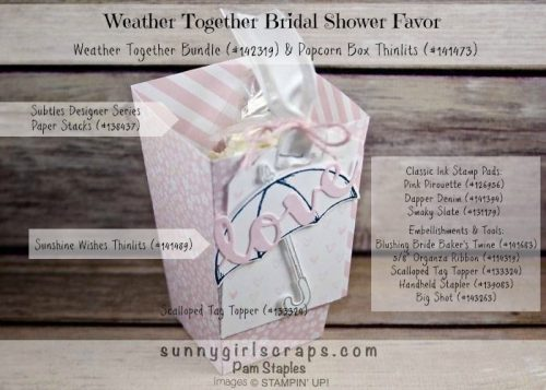 Weather Together Bridal Shower Favor created by Pam Staples for the RemARKably Creative Blog Tour.  To order the supplies for this card or any of the cards I created, visit my blog at www.sunnygirlscraps.com for more information.  #weathertogether #stampinup #pamstaples #remarkablycreativeblogtour