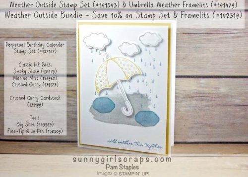 Weather Together Bundle featuring a Handmade card created by Pam Staples for the RemARKably Creative Blog Tour.  To order the supplies for this card or any of the cards I created, visit my blog at www.sunnygirlscraps.com for more information.  #weathertogether #stampinup #pamstaples #remarkablycreativeblogtour