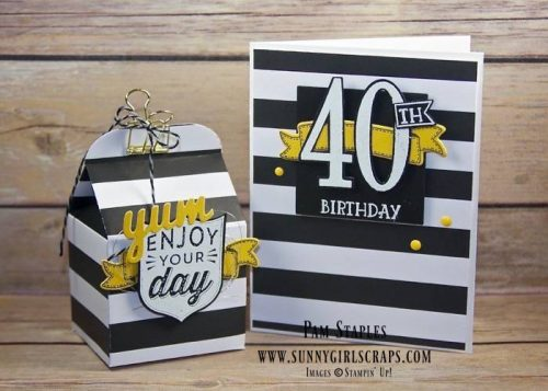40th Birthday Bash Baker's Box using the Badges & Banners Stamp Set and Birthday Banners Stamp Set created by Pam Staples for the One Stamp At a Time Blog Hop. To order the supplies for this card or any of the cards I created, visit my blog at www.sunnygirlscraps.com for more information. #birthdaybanners #stampinup #pamstaples #osat #birthdaybash